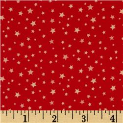 Riley Blake Round Up Flannel Star Red Fabric