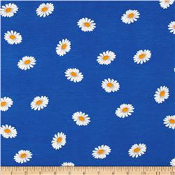 Stretch Rayon Jersey Knit Daisies Blue/White Fabric