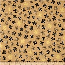 Fleur De Lis Metallic Black on Gold