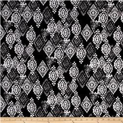 Stretch ITY Jersey Knit Kaleidoscope Print Black