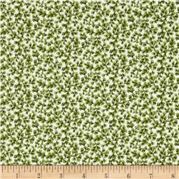 Botanical Blues Floral Green Fabric