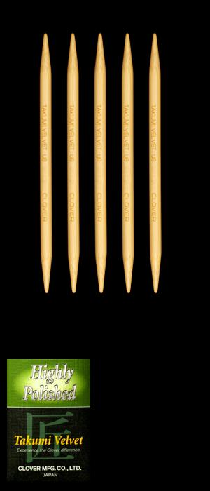 Clover Takumi Velvet Knitting Needles Double Pt. 5'' US 10 (6mm)