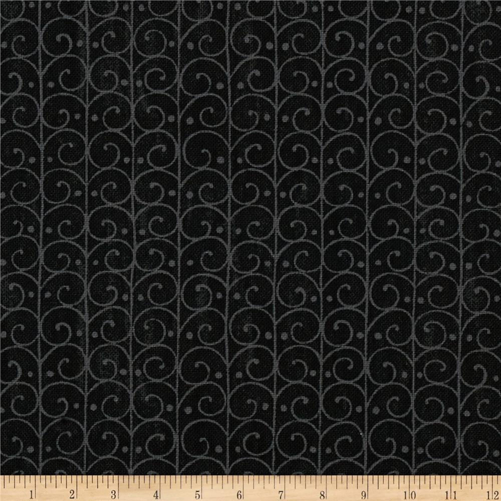 Moda Forest Fancy Scrolly Trellis Midnight Black