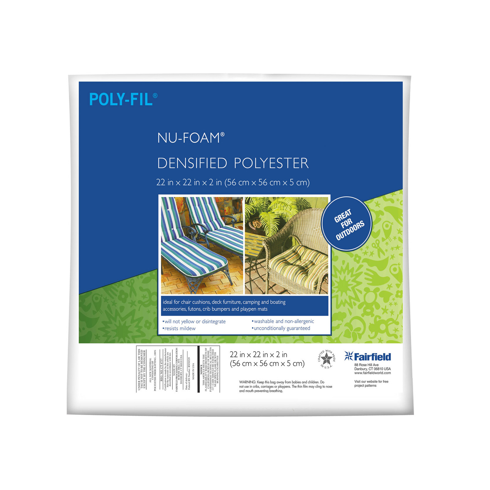 Fairfield Poly-Fil Nu-Foam 22'' x 22'' x 2
