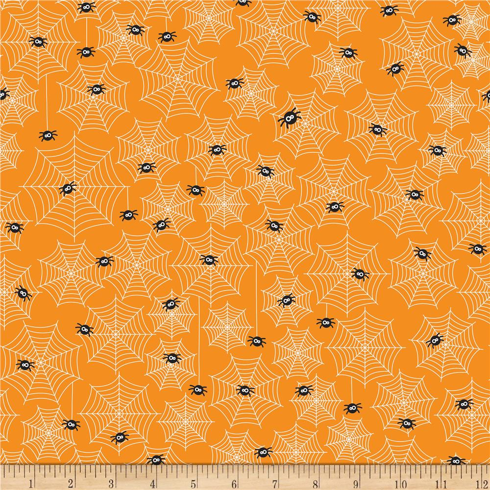 Riley Blake Halloween Parade Halloween Cobwebs Orange