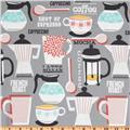 Michael Miller Kitchen Collection French Toast Gray