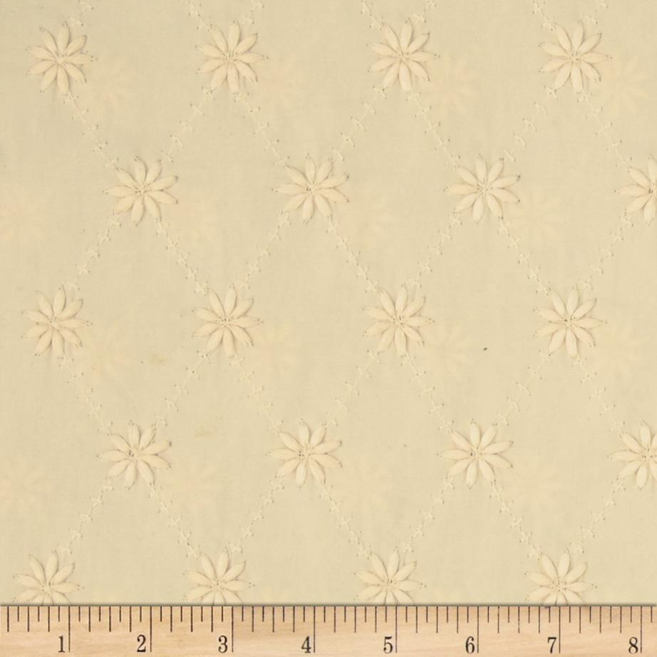 Kaufman Rebecca Embroidered Eyelet Flower Natural