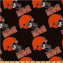 NFL Cotton Broadcloth Cleveland Browns Orange/Brown Fabric
