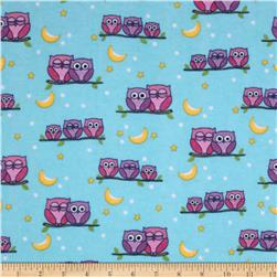 Flannel Perched Owls Blue Fabric