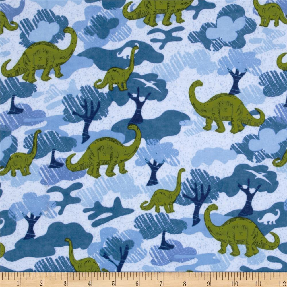 Flannel Dinosaurs Blue