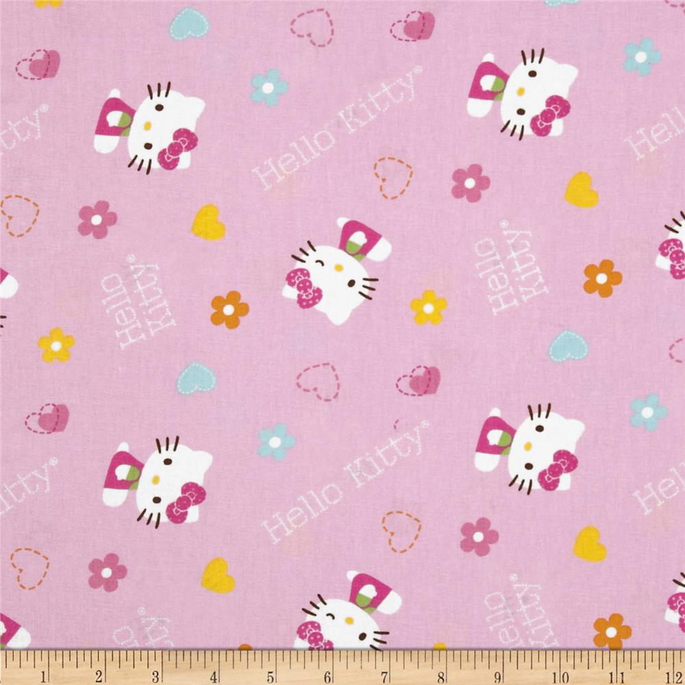 Sanrio Hello Kitty Hearts and Flowers All Over  Pink