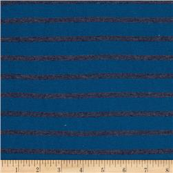 Stretch Hatchi Knit Stripes Royal/Charcoal Fabric