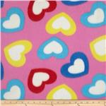 Fleece Large Hearts Pink