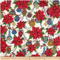 Christmas Splendor Poinsettia & Ornaments Cream
