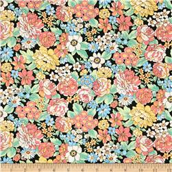 Kaufman London Calling Lawn Large Floral Black