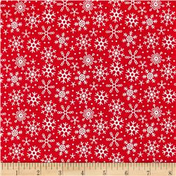 Riley Blake Santa Express Snowflake Red
