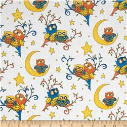 Rhyme Time Owls White Fabric