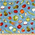 Maywood Studio From The Farm Tossed Fruits & Veggies Blue