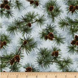 Winter Birds Pines & Pinecones Grey