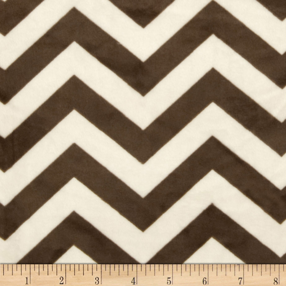 Minky 3/4'' Chevron Cream/Brown Fabric