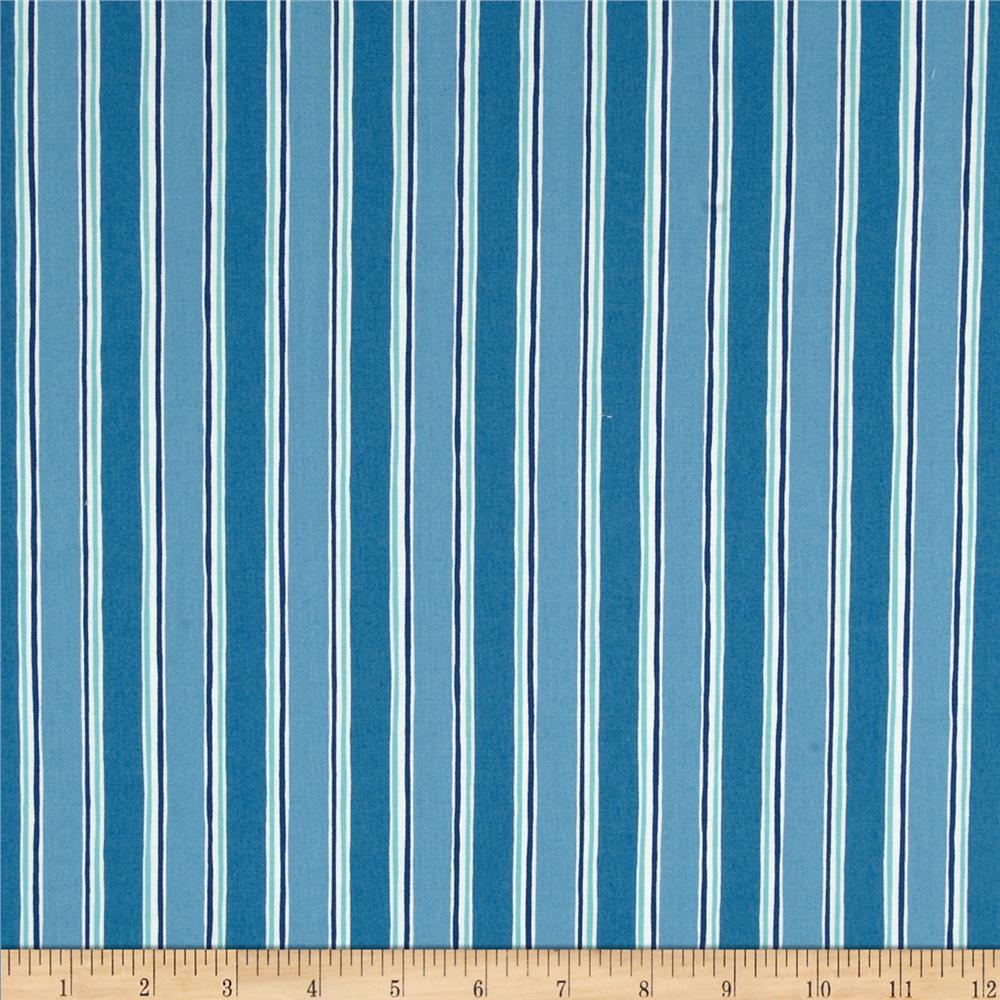 Moda Seascapes Nautical Stripe Ocean Blue