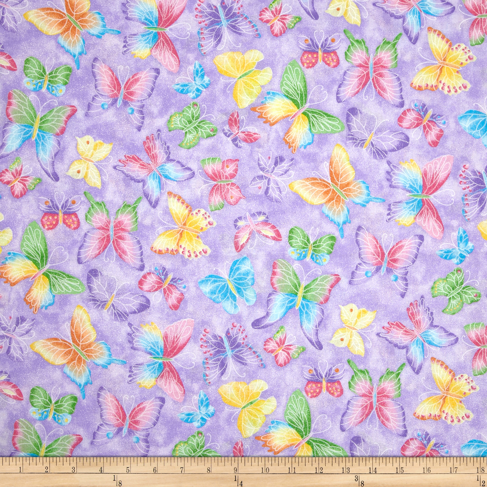Butterflies Glitter Purple Fabric by Fabric Traditions in USA
