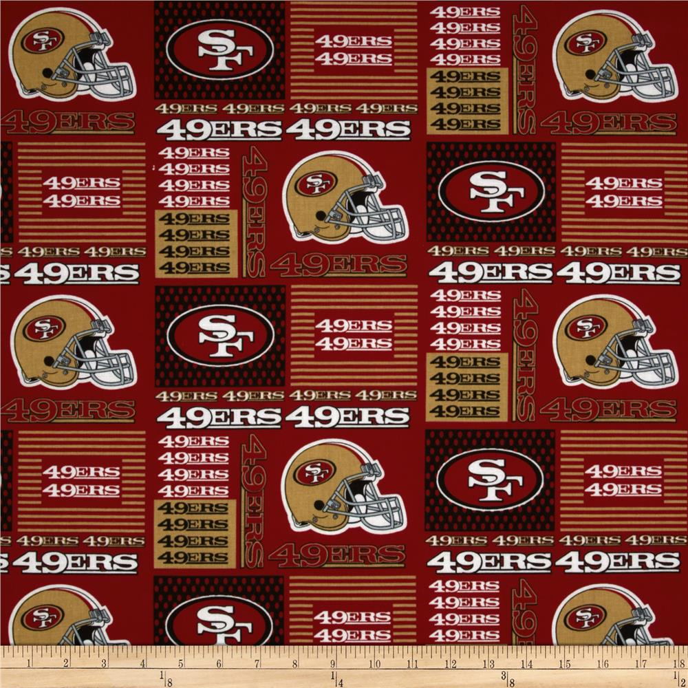 NFL Cotton Broadcloth San Francisco 49er's Patchwork Red Fabric By The Yard