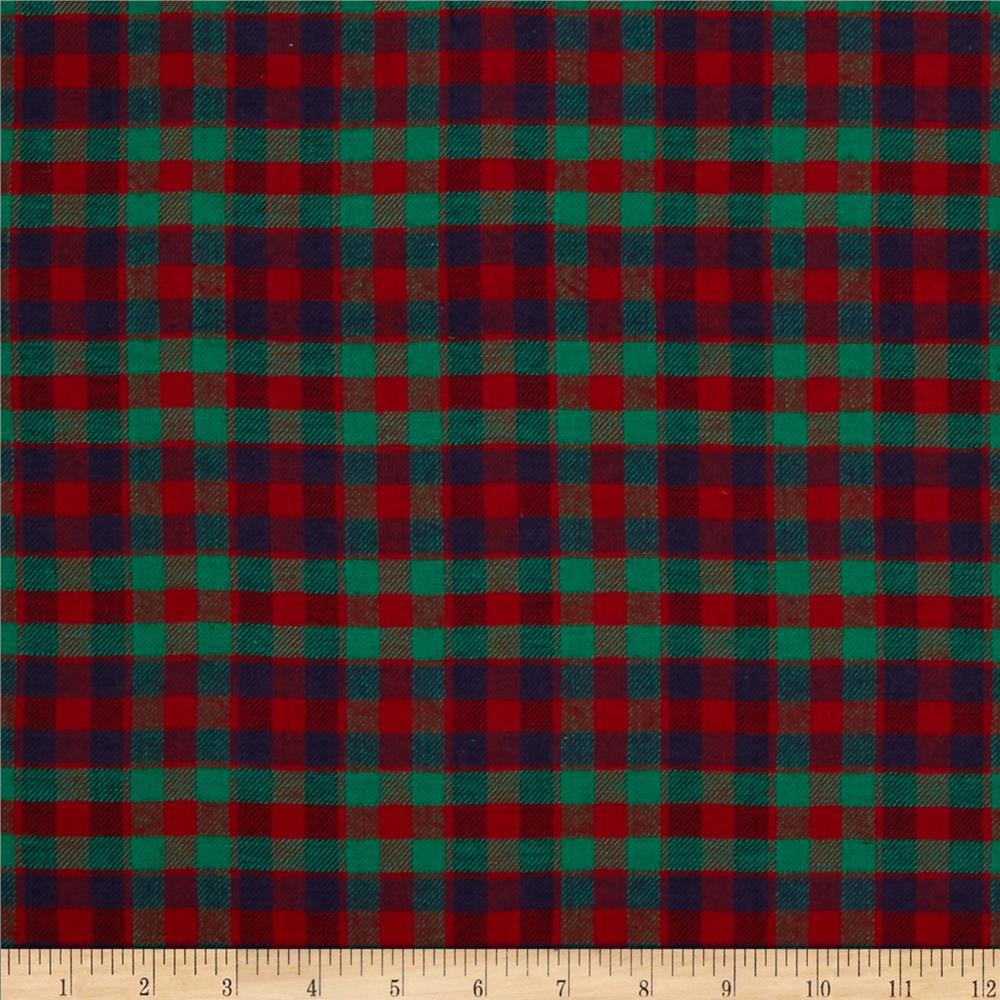 Yarn Dyed Flannel Plaid Check Red/Green/Purple