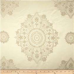 Starlight Lourier Medallion Satin Jacquard Ivory Fabric