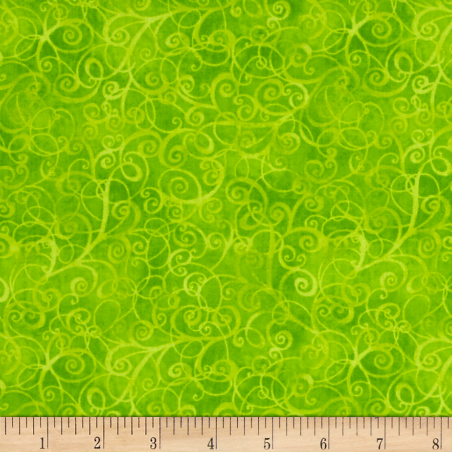 Timeless Treasures Breeze Scroll Blender Lime Fabric