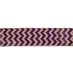 "2 3/8"" Burlap Trim Chevron Purple"