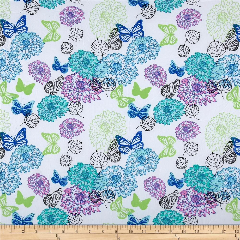 ITY Stretch Knit Butterfly Floral Pink/Mint Fabric