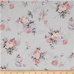 Kaufman Margeaux Flower Spray Grey