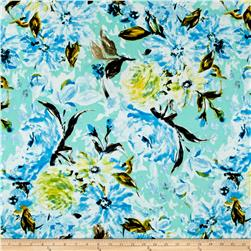 Liverpool Double Knit Tropical Floral Aqua