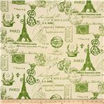 Premier Prints French Stamp Grasshopper Kelly/Natural