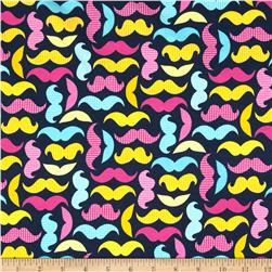 Kaufman Laguna Stretch Jersey Knit Mustaches Navy