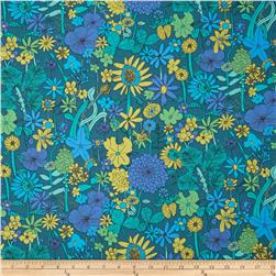 Liberty Of London Tana Lawn Scilly Flora Teal/Aqua/Purple