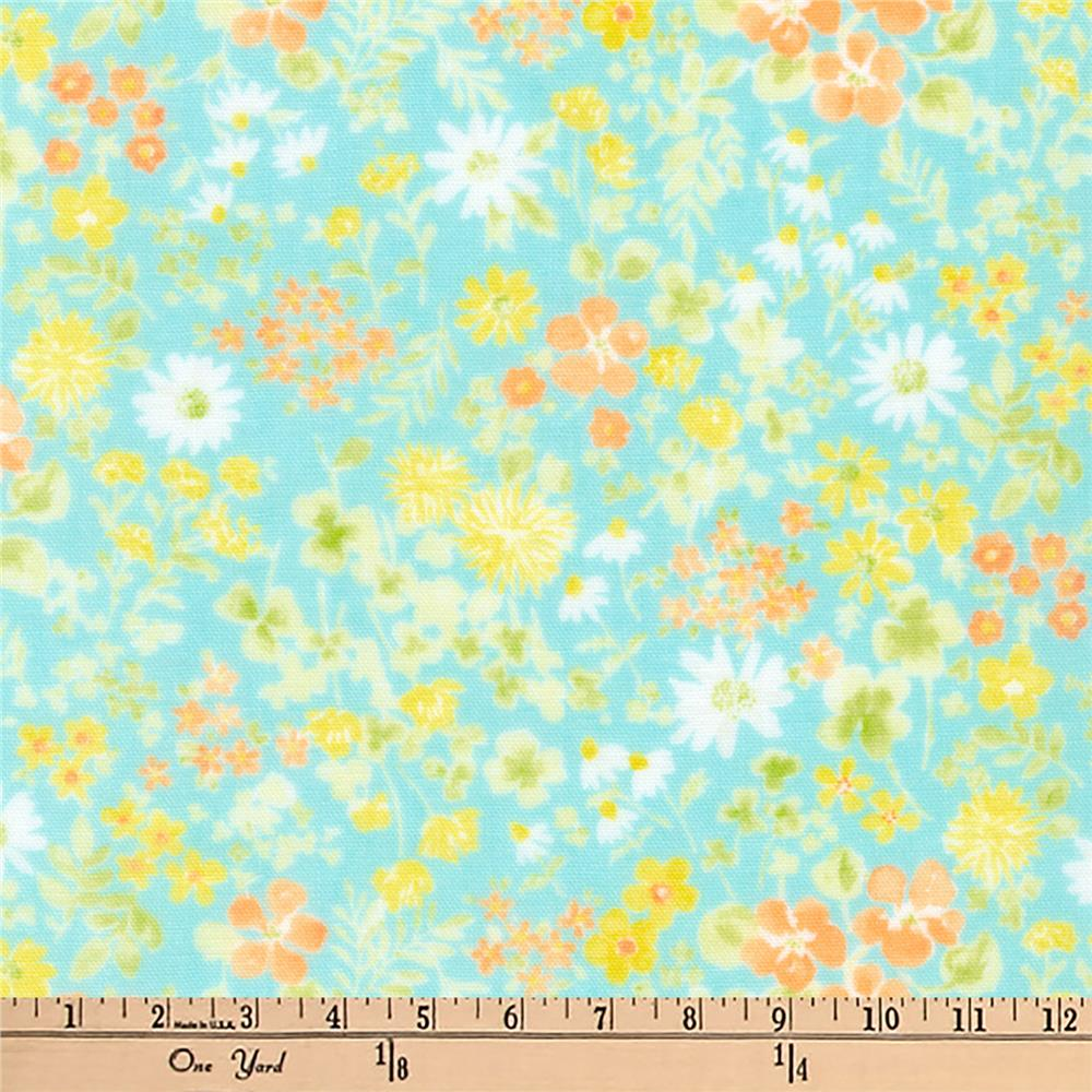 Kaufman Comfy Double Gauze Flowers Aqua
