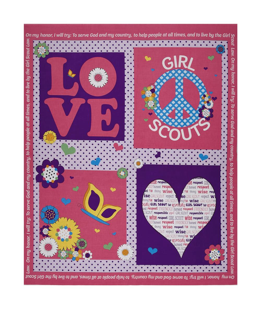 Riley Blake Girl Scouts Promise 35.5'' Panel Pink Fabric