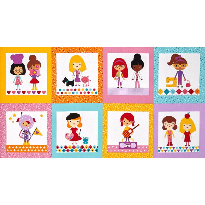 Kaufman Girlfriends Career Girls 24'' Panel Blocks Bright