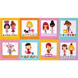 Robert Kaufman Girlfriends Career Girls Blocks Bright