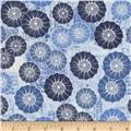 Bright and Early Floral Newsprint Blue