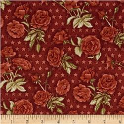American Beauty Tossed Roses with Stars Red Fabric