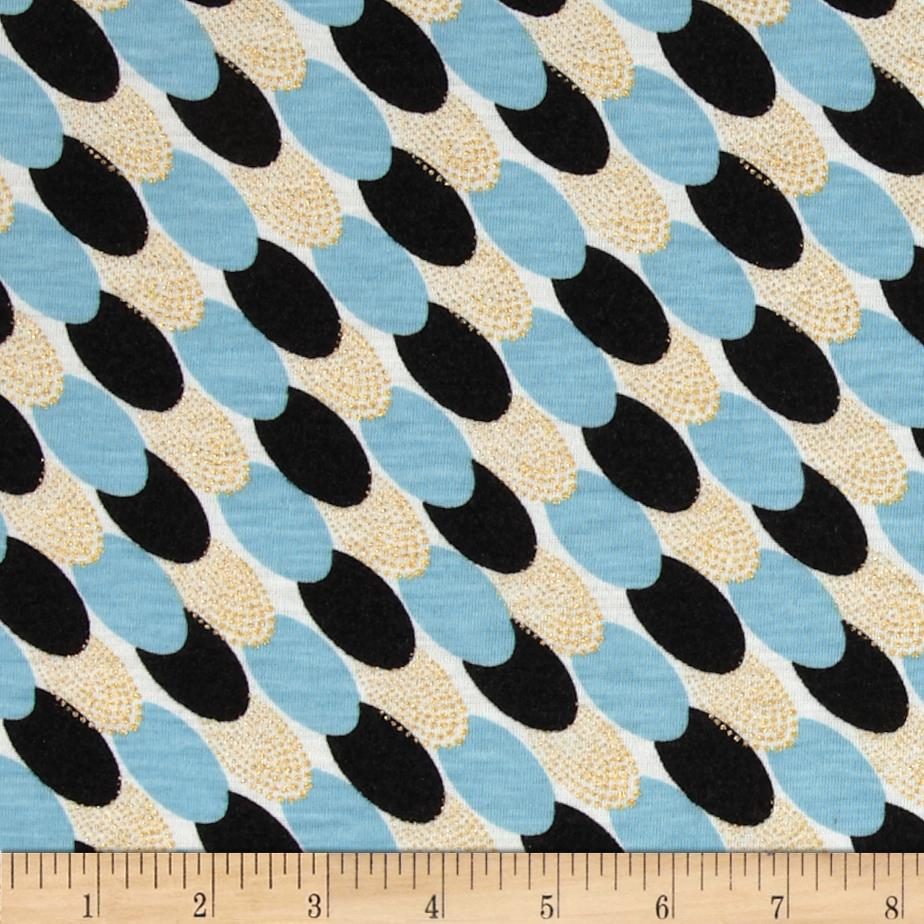 Stretch Rayon Blend Jersey Knit Ovals Light Blue/Gold