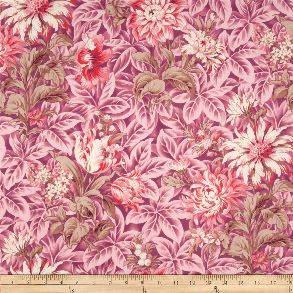 Verna Mosquera October Skies Cotton Voile Foliage Country Pink