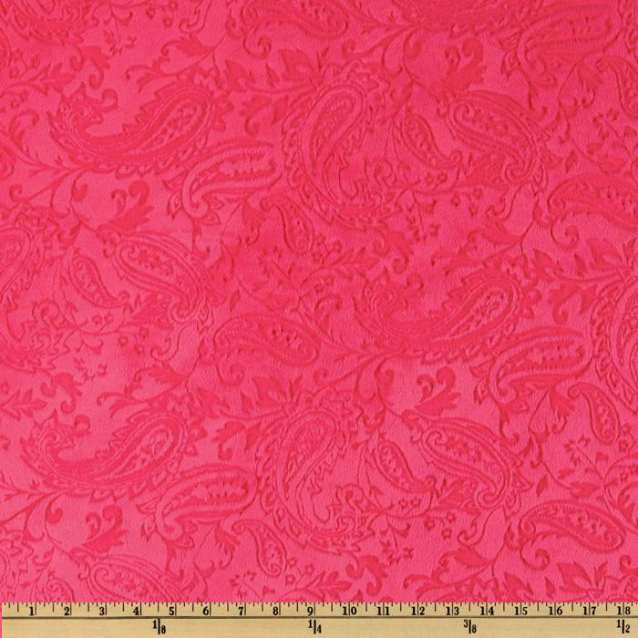 Minky Cuddle Embossed Paisley Watermelon
