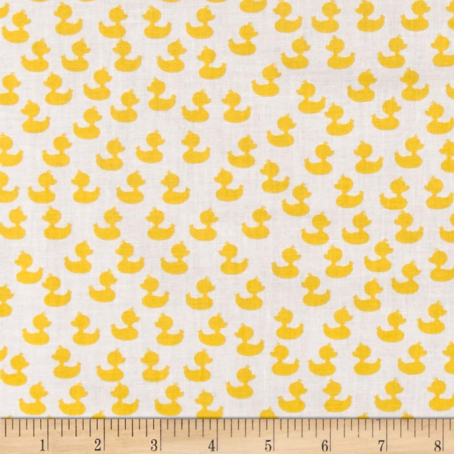 Baby talk floating ducks white yellow discount designer for Cheap baby fabric
