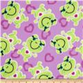 Fleece Tossed Frogs & Hearts Pink/Green