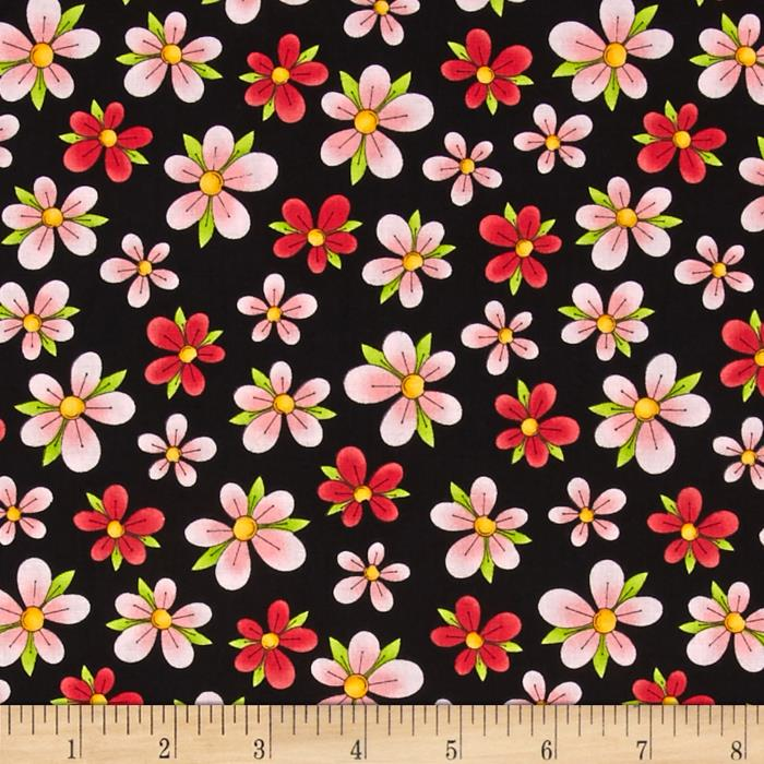 Miss Kitty's Colors Floral Black
