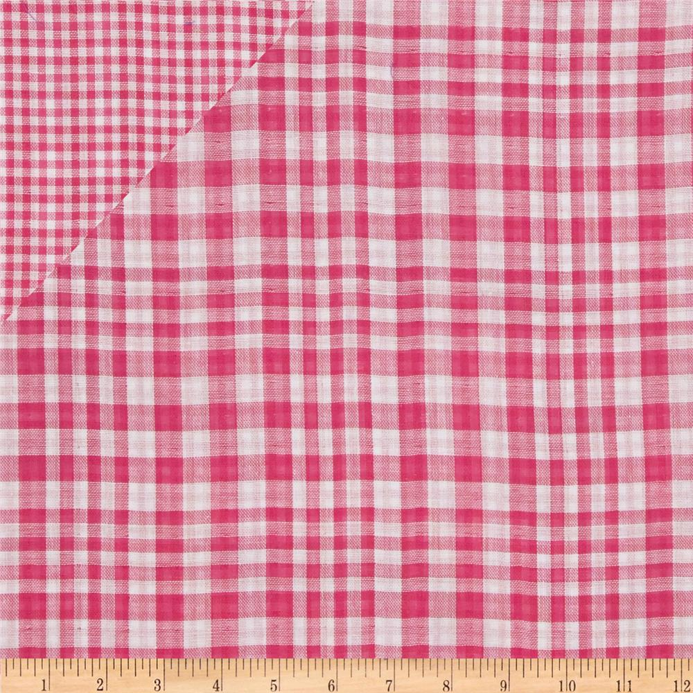 Double Cloth Yarn Dyed Shirting Plaid Hot Pink